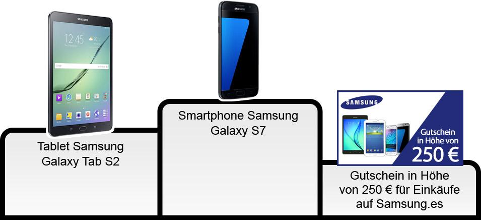 Tablet Samsung Galaxy Tab S2 - Smartphone Samsung Galaxy S7 - Gutschein in Höhe von 250 € für Einkäufe auf Samsung.es